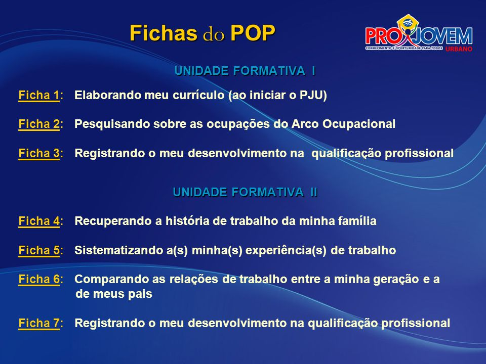 Fichas do POP UNIDADE FORMATIVA I