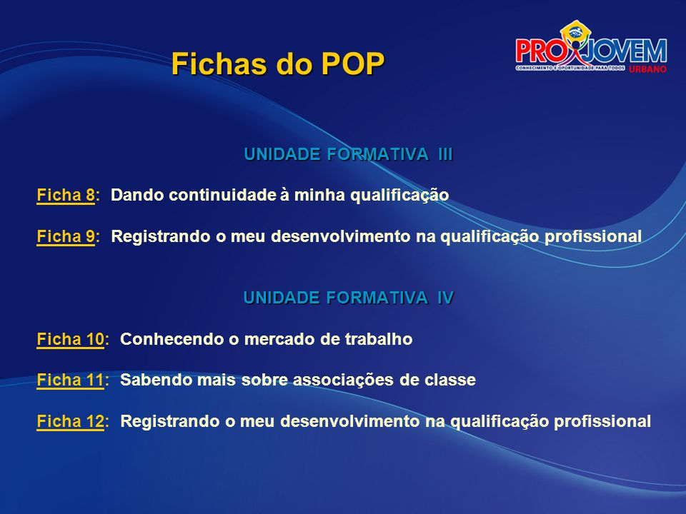 Fichas do POP UNIDADE FORMATIVA III