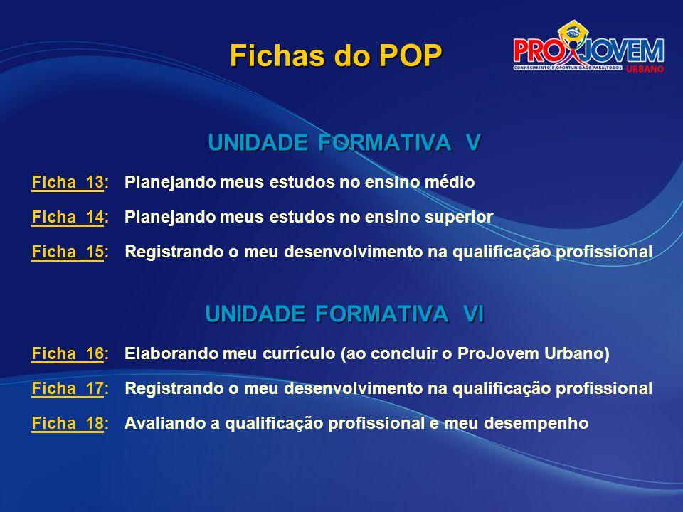 Fichas do POP UNIDADE FORMATIVA V UNIDADE FORMATIVA VI