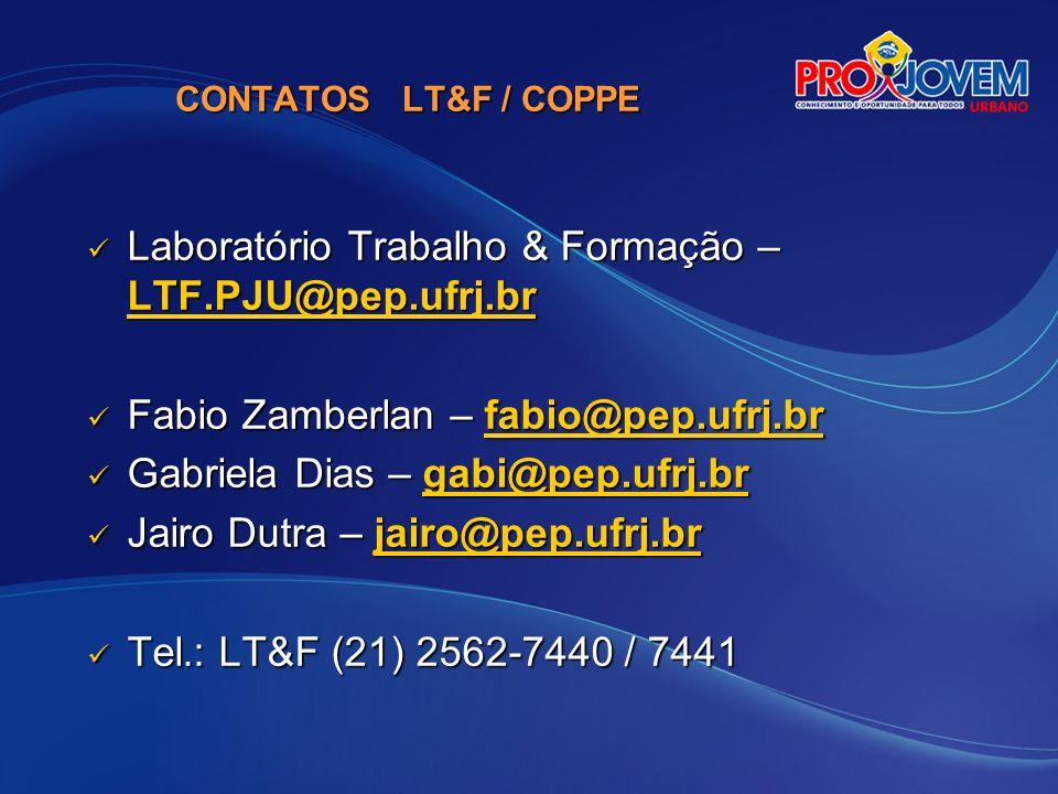 Laboratório Trabalho & Formação – LTF.PJU@pep.ufrj.br
