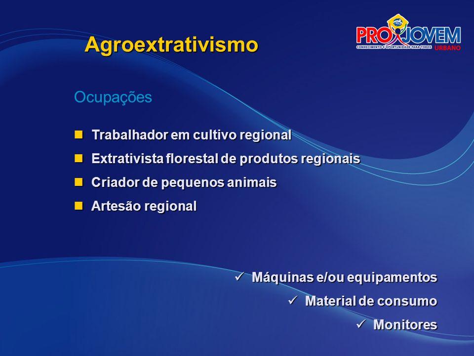 Agroextrativismo Ocupações Trabalhador em cultivo regional