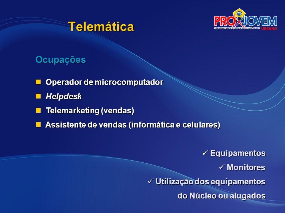 Telemática Ocupações Operador de microcomputador Helpdesk