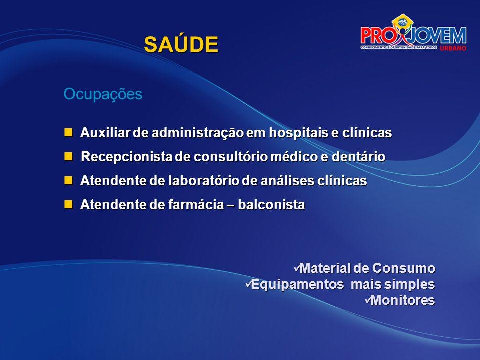 SAÚDE Ocupações Auxiliar de administração em hospitais e clínicas