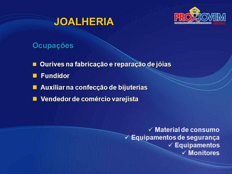 JOALHERIA Ocupações Fundidor Auxiliar na confecção de bijuterias