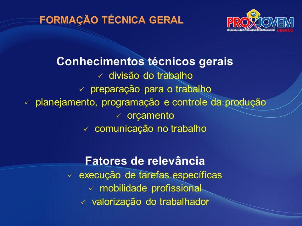 FORMAÇÃO TÉCNICA GERAL