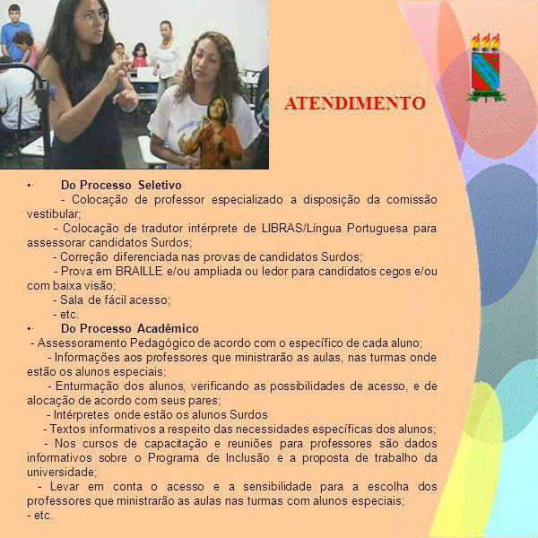 ATENDIMENTO · Do Processo Seletivo