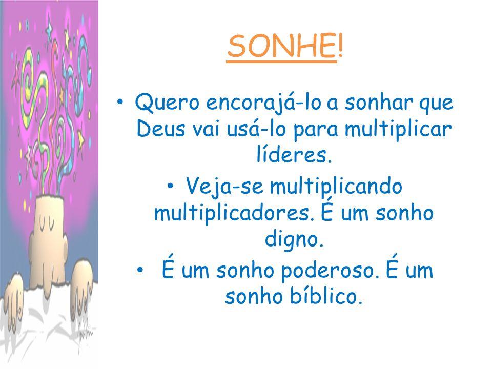 SONHE! Quero encorajá-lo a sonhar que Deus vai usá-lo para multiplicar líderes. Veja-se multiplicando multiplicadores. É um sonho digno.