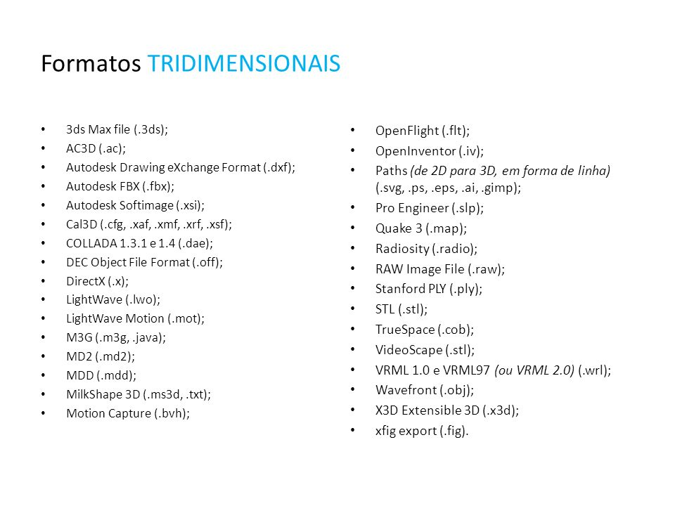 Formatos TRIDIMENSIONAIS