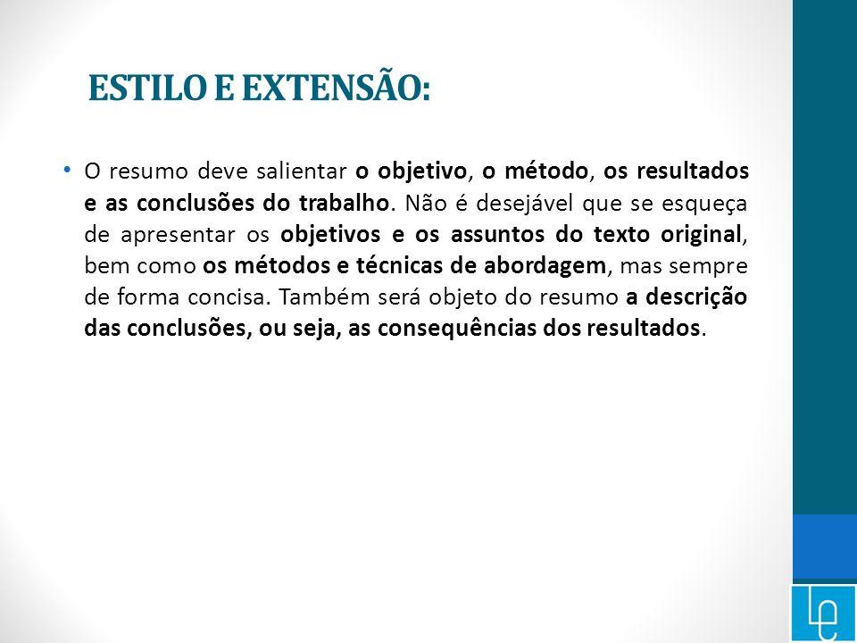 ESTILO E EXTENSÃO: