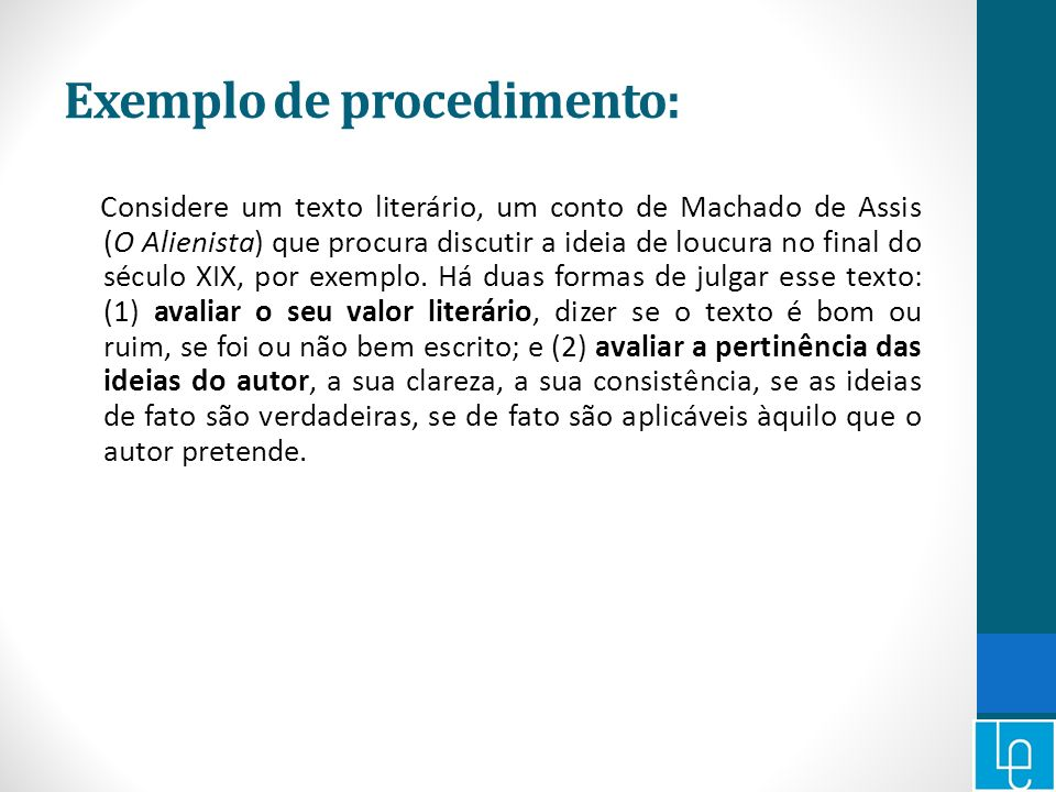 Exemplo de procedimento: