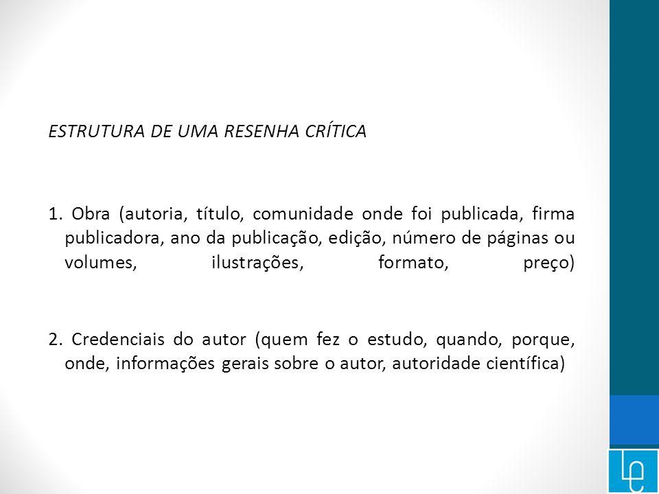 ESTRUTURA DE UMA RESENHA CRÍTICA 1