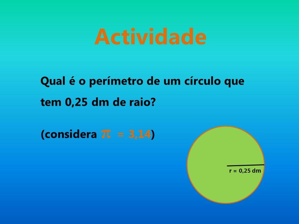 Actividade Qual é o perímetro de um círculo que tem 0,25 dm de raio