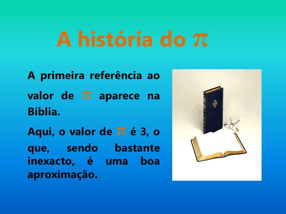 A história do π A primeira referência ao valor de π aparece na Bíblia.