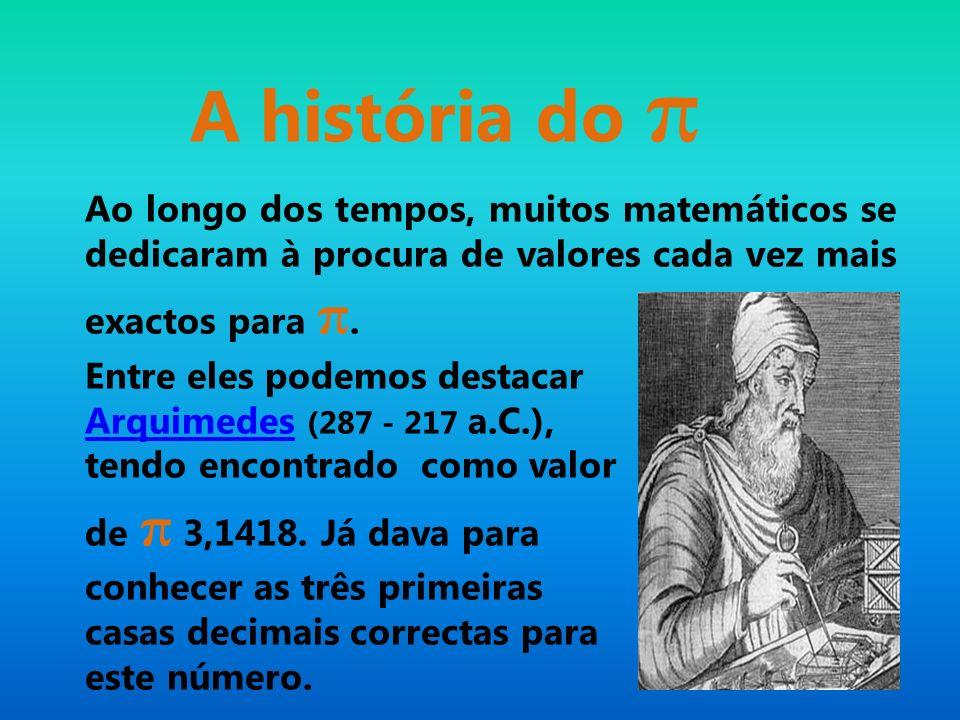 A história do π Ao longo dos tempos, muitos matemáticos se dedicaram à procura de valores cada vez mais exactos para π.