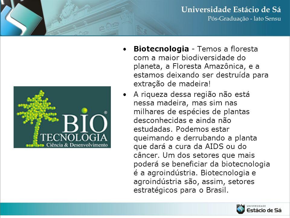 Biotecnologia - Temos a floresta com a maior biodiversidade do planeta, a Floresta Amazônica, e a estamos deixando ser destruída para extração de madeira!