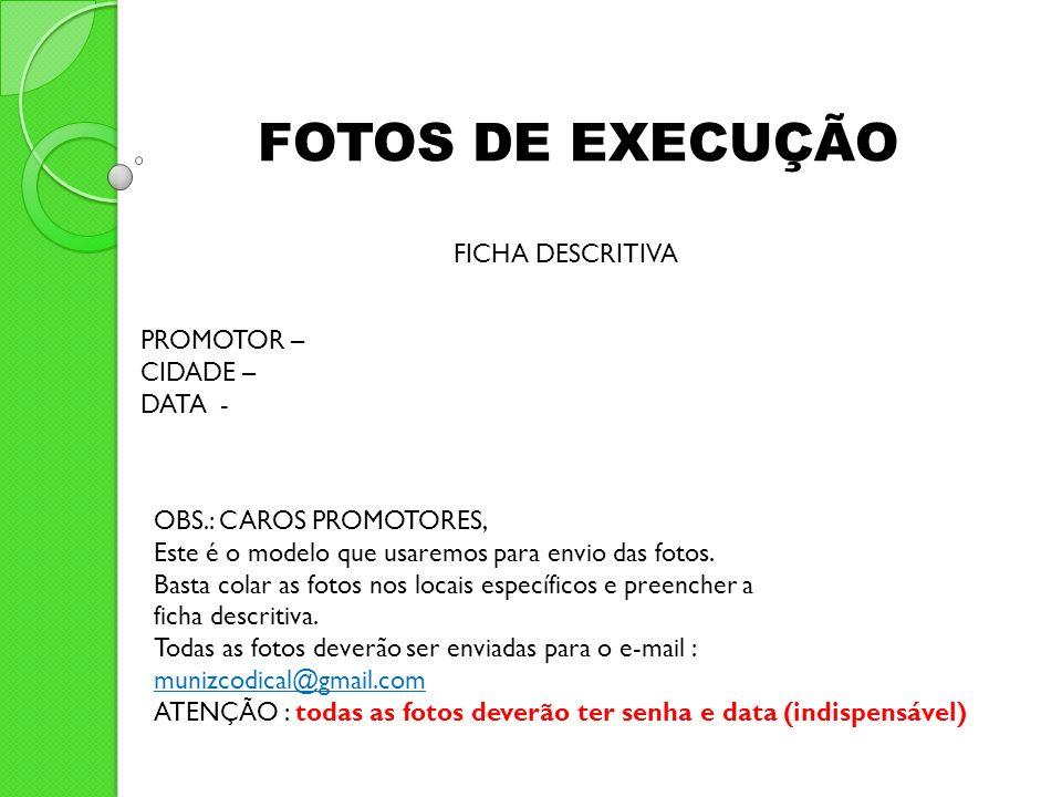 FOTOS DE EXECUÇÃO FICHA DESCRITIVA PROMOTOR – CIDADE – DATA -