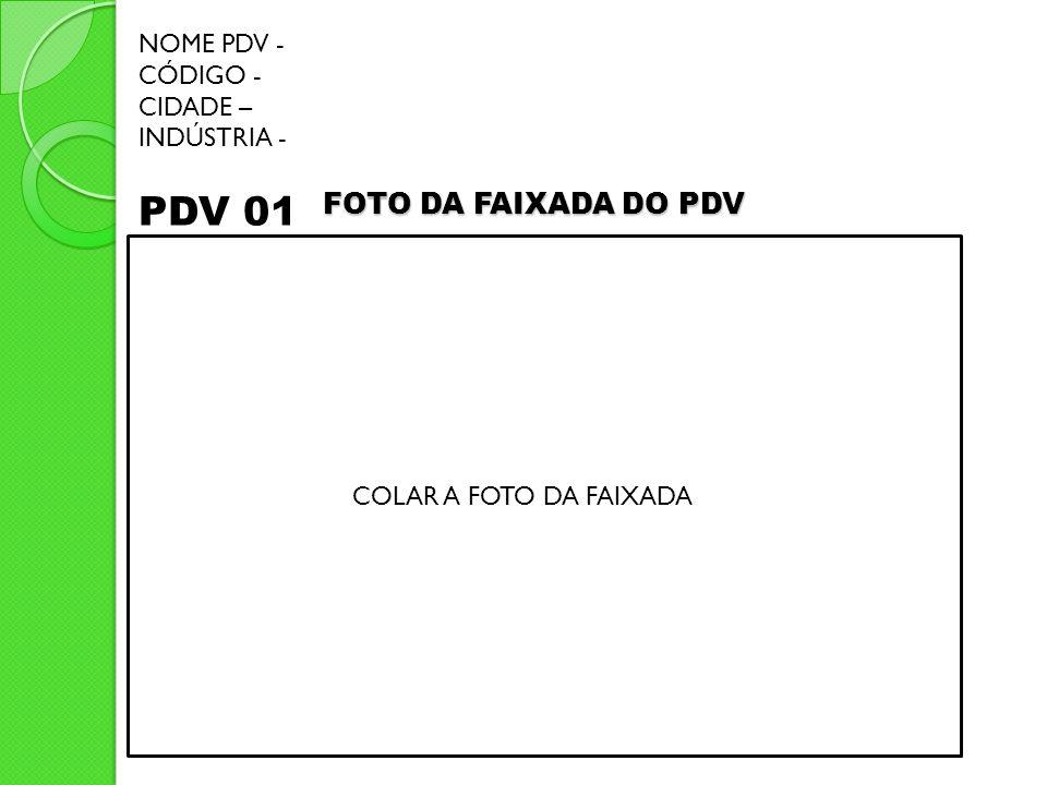 PDV 01 FOTO DA FAIXADA DO PDV NOME PDV - CÓDIGO - CIDADE – INDÚSTRIA -