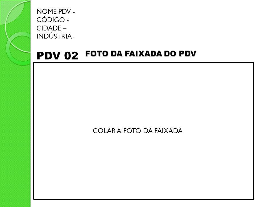 PDV 02 FOTO DA FAIXADA DO PDV NOME PDV - CÓDIGO - CIDADE – INDÚSTRIA -