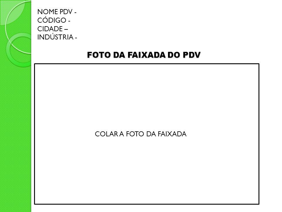 FOTO DA FAIXADA DO PDV NOME PDV - CÓDIGO - CIDADE – INDÚSTRIA -