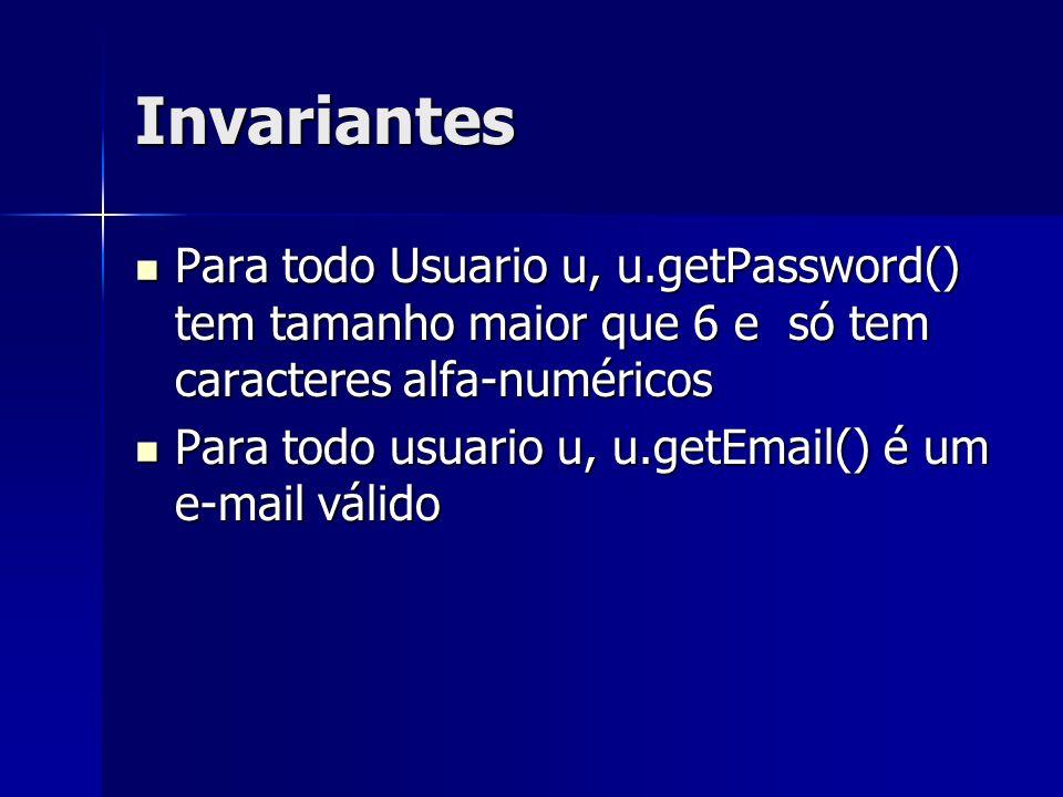 Invariantes Para todo Usuario u, u.getPassword() tem tamanho maior que 6 e só tem caracteres alfa-numéricos.