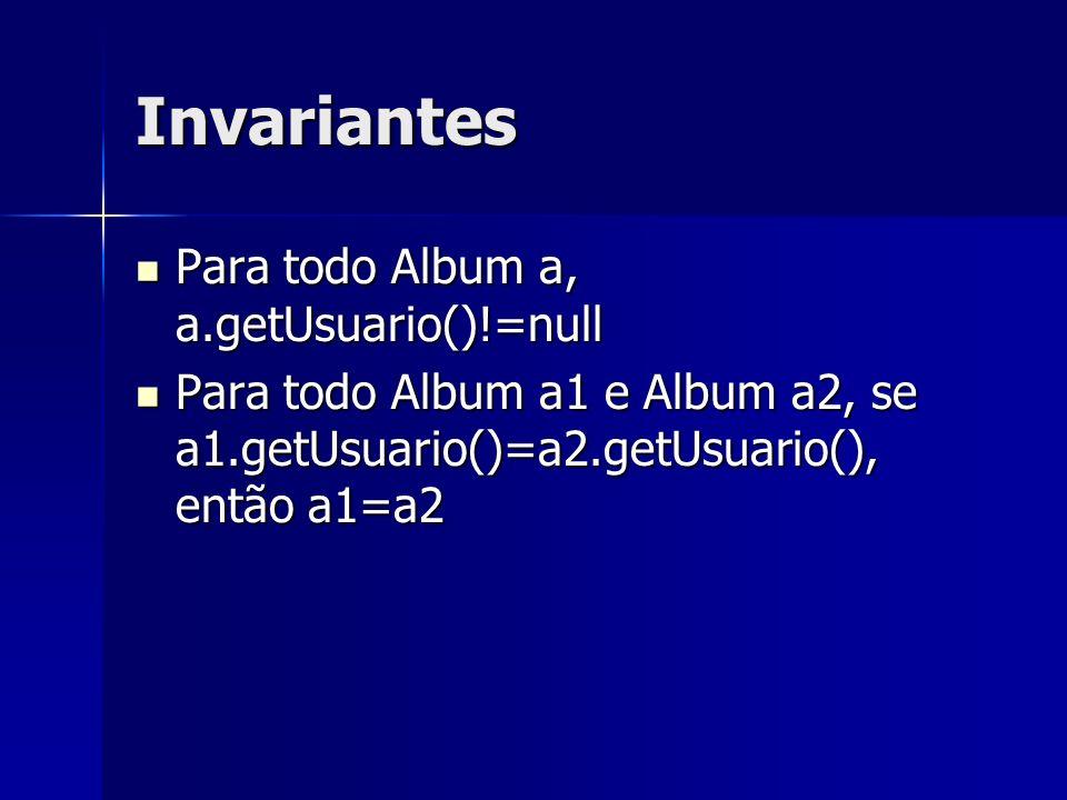 Invariantes Para todo Album a, a.getUsuario()!=null