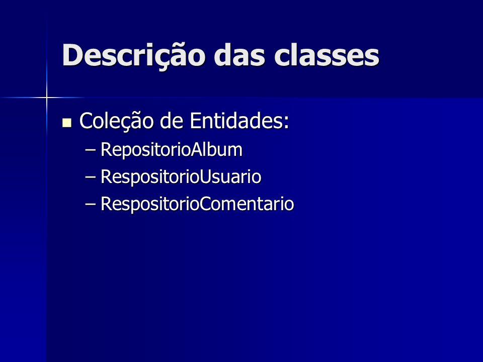 Descrição das classes Coleção de Entidades: RepositorioAlbum