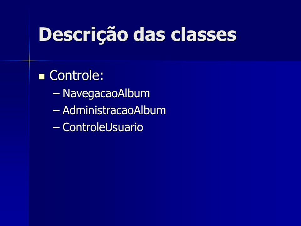 Descrição das classes Controle: NavegacaoAlbum AdministracaoAlbum