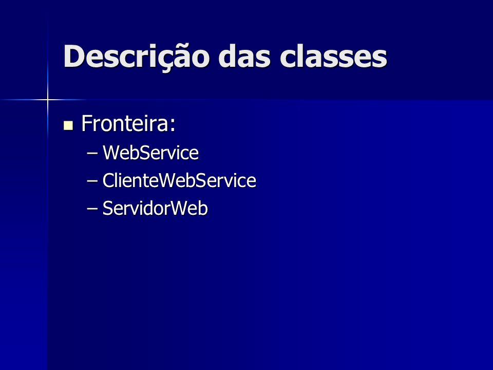 Descrição das classes Fronteira: WebService ClienteWebService