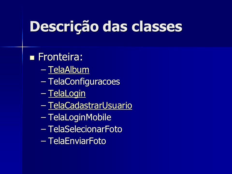 Descrição das classes Fronteira: TelaAlbum TelaConfiguracoes TelaLogin