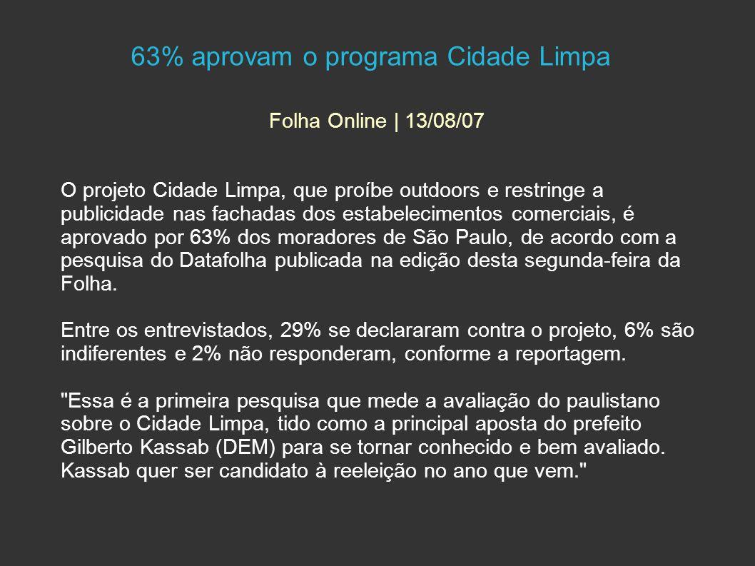 63% aprovam o programa Cidade Limpa