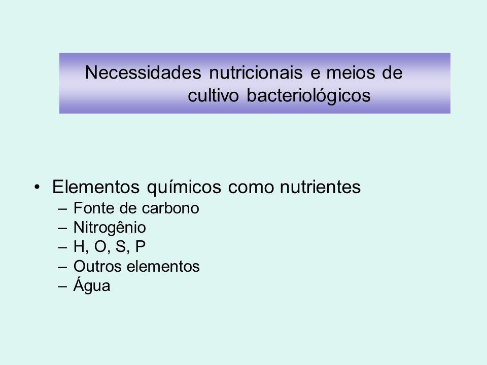 Necessidades nutricionais e meios de cultivo bacteriológicos