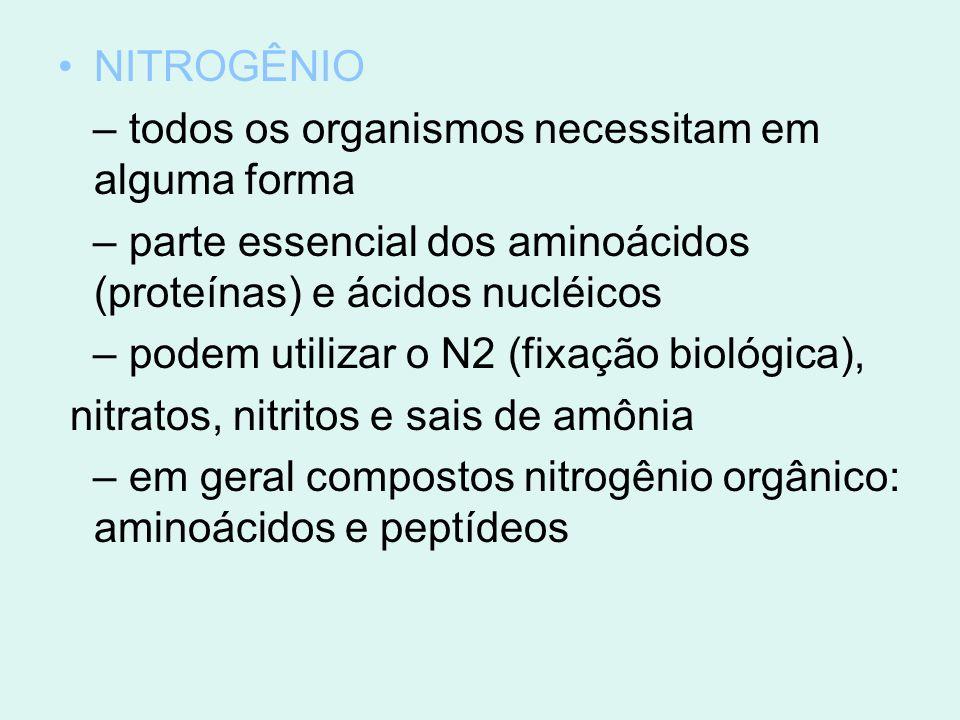 NITROGÊNIO – todos os organismos necessitam em alguma forma. – parte essencial dos aminoácidos (proteínas) e ácidos nucléicos.