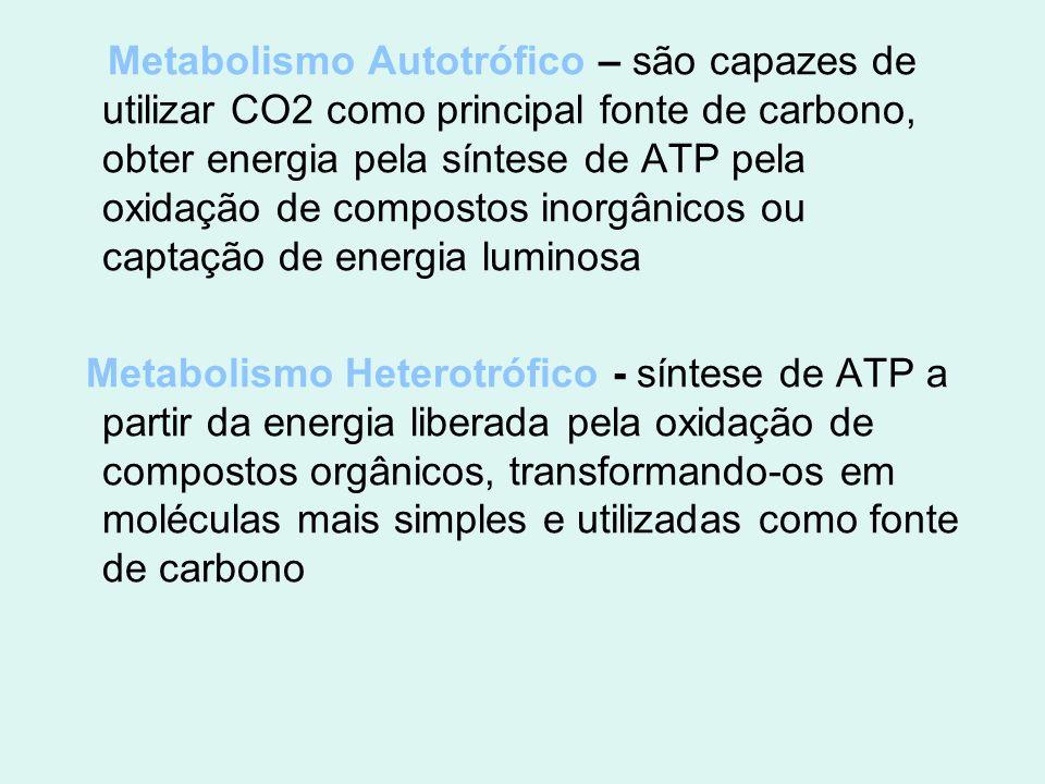Metabolismo Autotrófico – são capazes de utilizar CO2 como principal fonte de carbono, obter energia pela síntese de ATP pela oxidação de compostos inorgânicos ou captação de energia luminosa