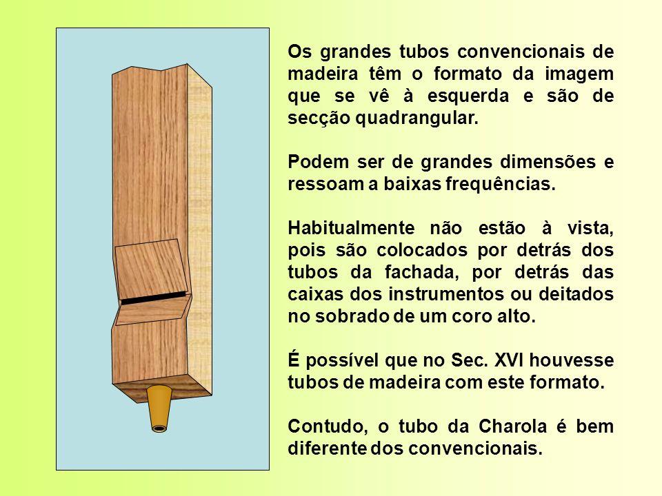 Os grandes tubos convencionais de madeira têm o formato da imagem que se vê à esquerda e são de secção quadrangular.