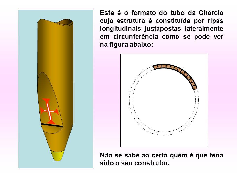Este é o formato do tubo da Charola cuja estrutura é constituída por ripas longitudinais justapostas lateralmente em circunferência como se pode ver na figura abaixo: