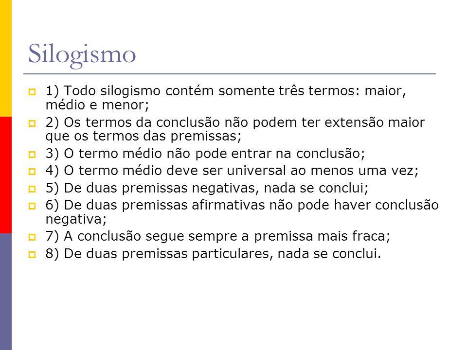 Silogismo 1) Todo silogismo contém somente três termos: maior, médio e menor;