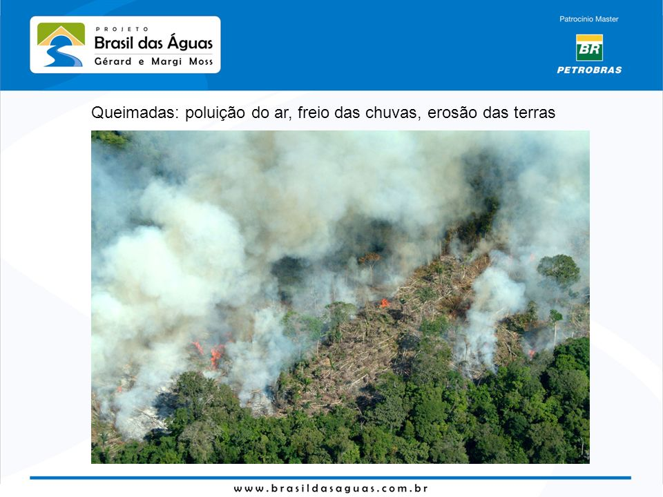 Queimadas: poluição do ar, freio das chuvas, erosão das terras