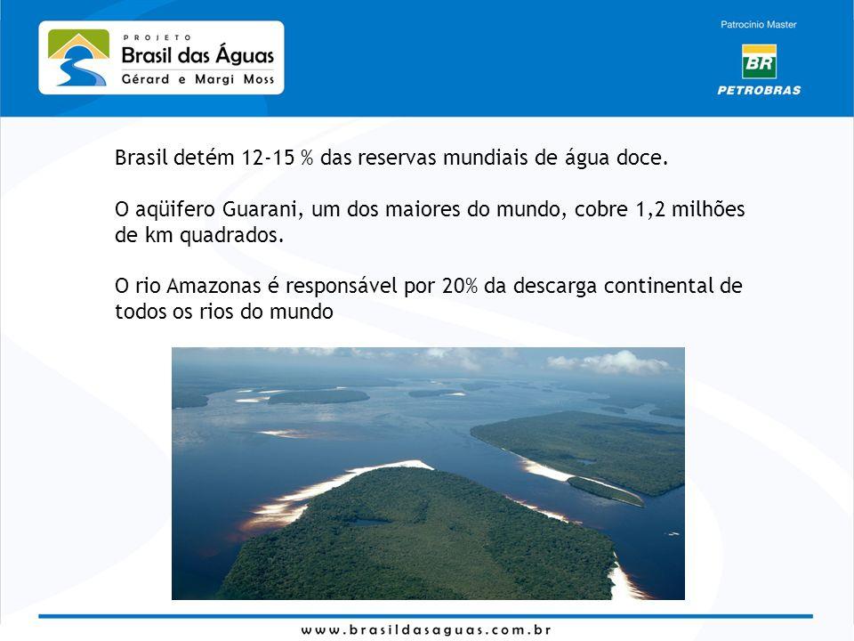 Brasil detém 12-15 % das reservas mundiais de água doce.
