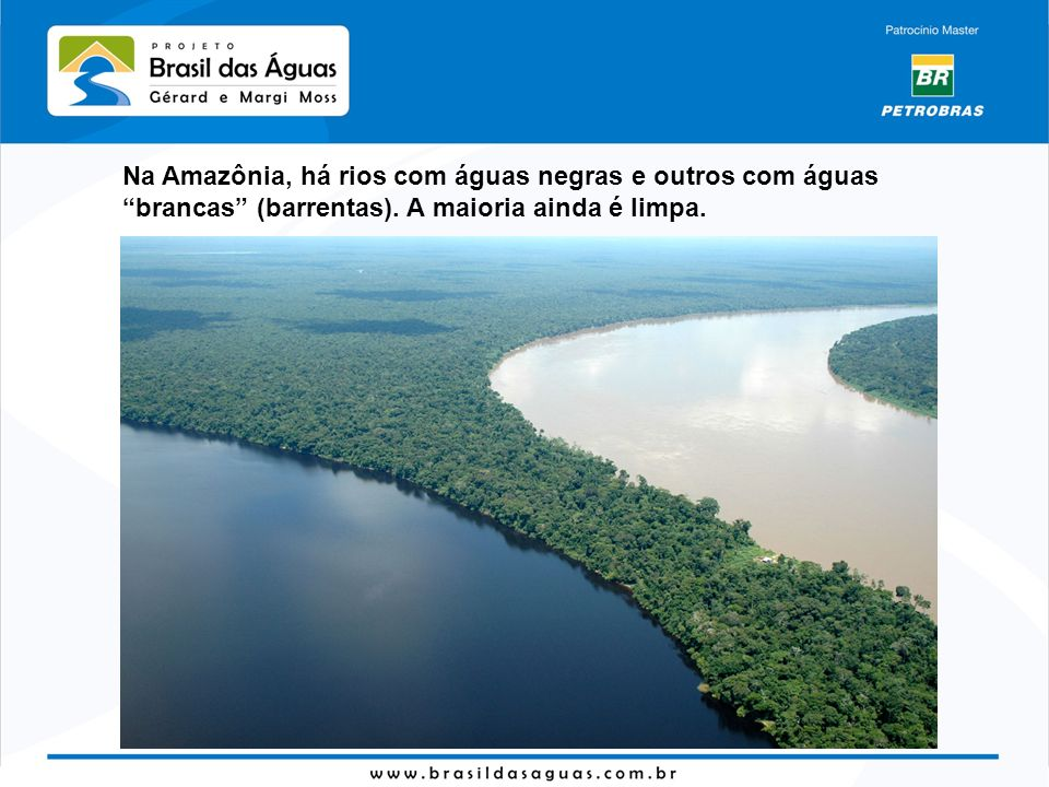 Na Amazônia, há rios com águas negras e outros com águas brancas (barrentas).