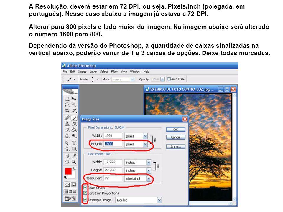 A Resolução, deverá estar em 72 DPI, ou seja, Pixels/inch (polegada, em português). Nesse caso abaixo a imagem já estava a 72 DPI.