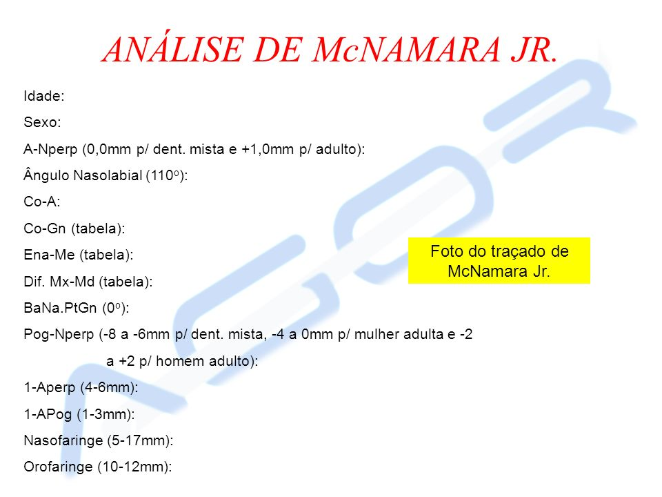 Foto do traçado de McNamara Jr.