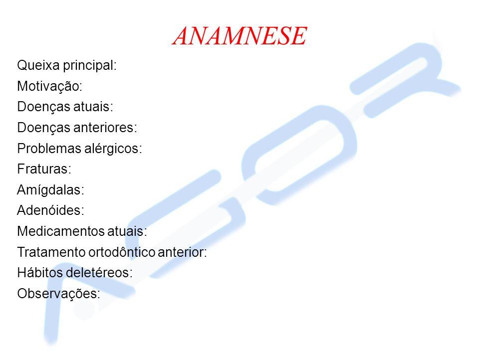 ANAMNESE Queixa principal: Motivação: Doenças atuais: