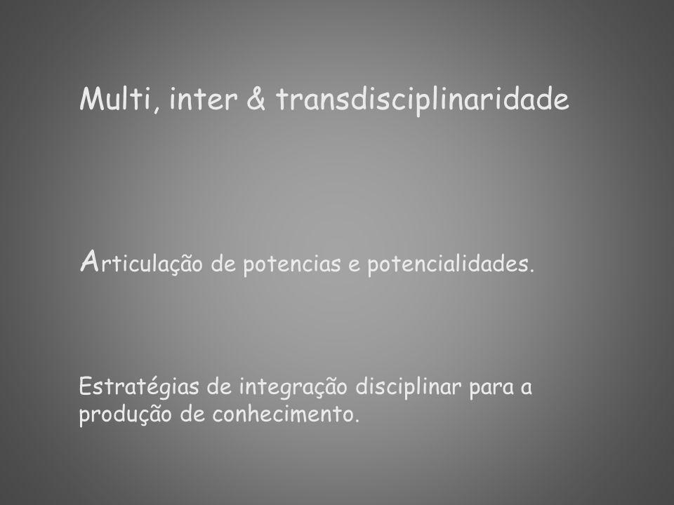 Multi, inter & transdisciplinaridade
