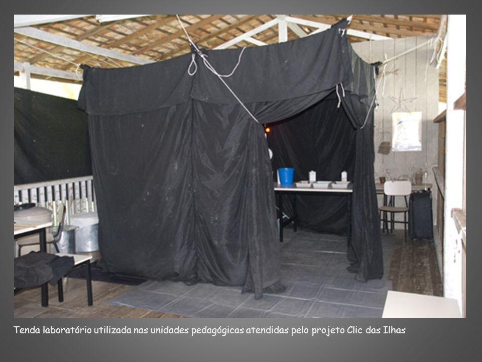 Tenda laboratório utilizada nas unidades pedagógicas atendidas pelo projeto Clic das Ilhas