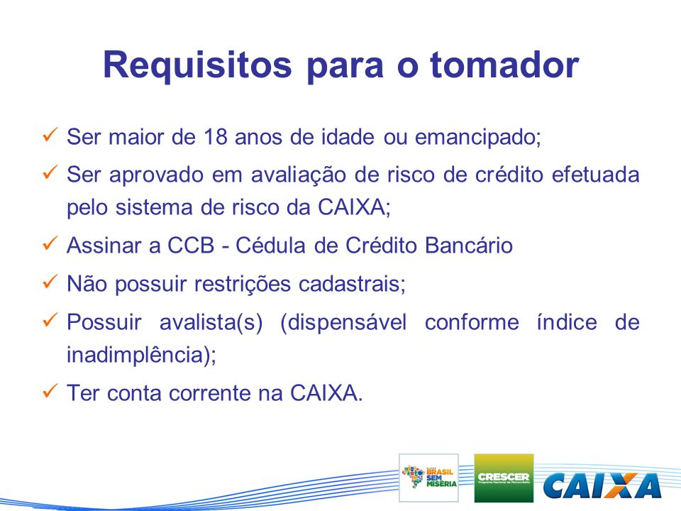 Requisitos para o tomador