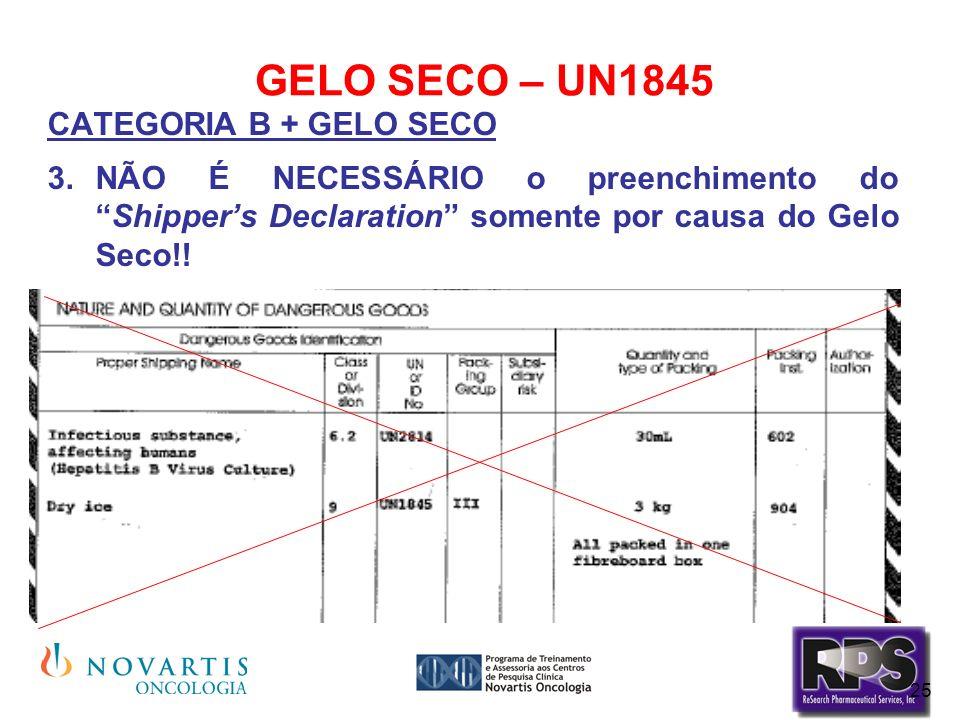 GELO SECO – UN1845 CATEGORIA B + GELO SECO.