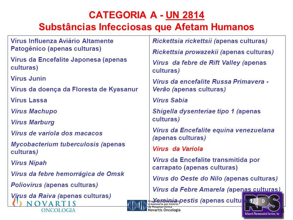 CATEGORIA A - UN 2814 Substâncias Infecciosas que Afetam Humanos