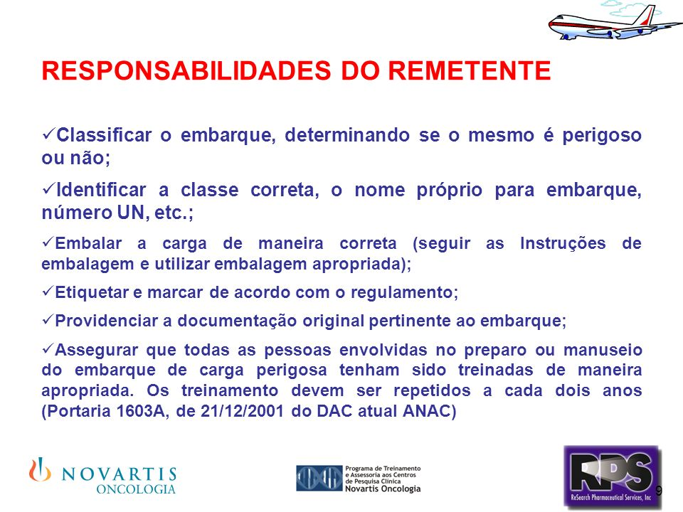 RESPONSABILIDADES DO REMETENTE