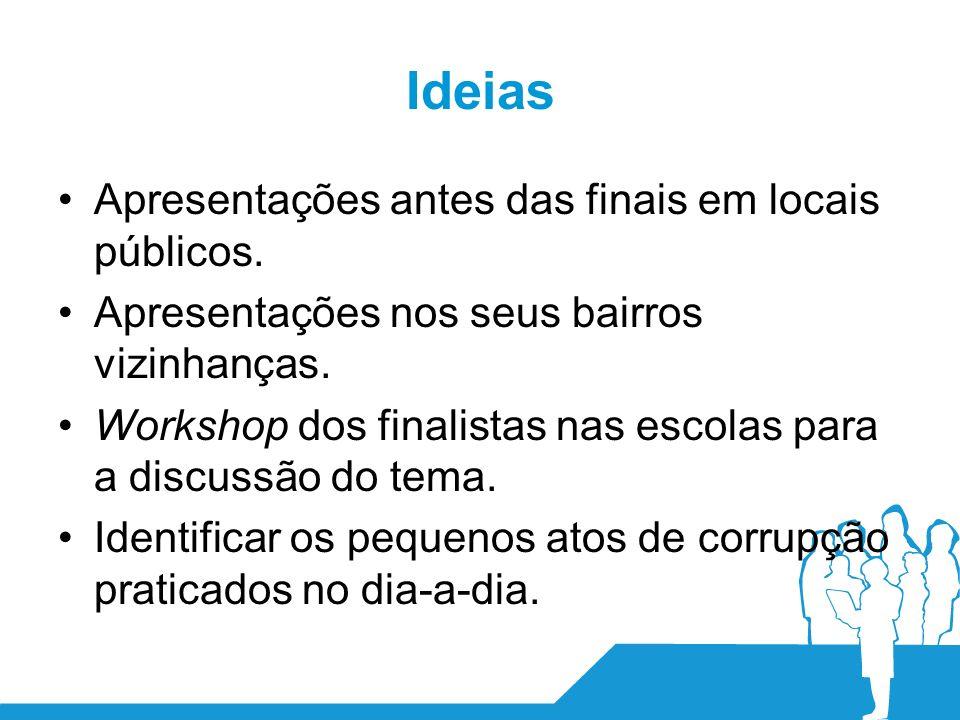 Ideias Apresentações antes das finais em locais públicos.