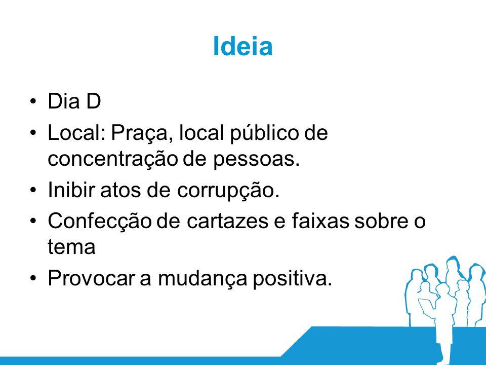 Ideia Dia D Local: Praça, local público de concentração de pessoas.